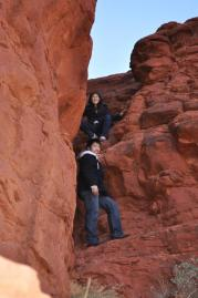 This is me and my brother on our last family vacation. I like to climb things.
