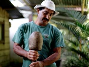 Oldemar Salazar demonstrates a traditional method of preparing coffee beans at his coffee farm in San Luis, Costa Rica, Saturday, Jan. 5, 2013. His coffee farm, La Bella Tica, was recently certified as organic.
