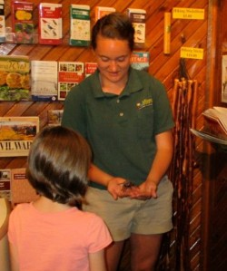 Kelly Koch shows a young visitor the Texas Brown Tarantula at Roaring River State Park