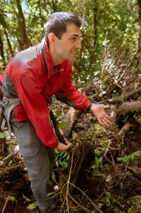 Marcos Mendez shows how epiphytes grow on a fallen tree branch.