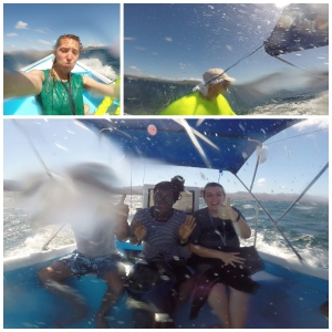 Missouri School of Journalism reporters make the most of a soggy situation offshore of Cuanjiniquil, Costa Rica. Pictured top left going clockwise: Paige Blankenbuehler, Bill Allen, Natalie Helms, Mariah Brannan and Chinmay Vaidya   Photo by Paige Blankenbuehler