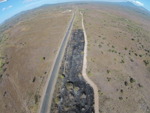 Drone footage of the firebreak in ACG. Private land sits on the left of the Pan American highway, and ACG land sits on the right. |  By Muhammad Al-Rawi